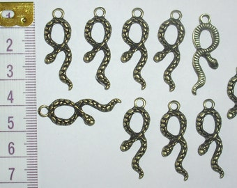 10 x Bronze Snake Charms *35mm*et*
