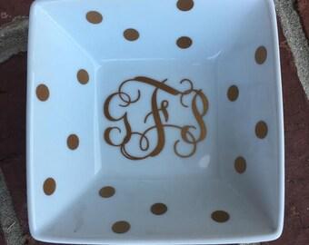 Large Monogrammed Jewelry Dish Trinket Dish