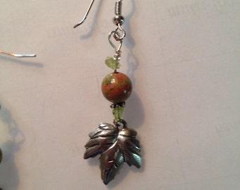 Pewter and unakite leaf earrings