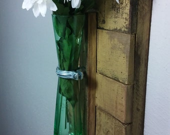 Wood Wall Sconce. Yellow Wall Sconce. Vase Sconce. Rustic Wall Sconce. Flower Vase Sconce. Shabby Chic Sconce. Reclaimed Wood Sconce.