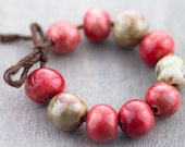 Rose red and forest green porcelain bead set-Ronnie's beads