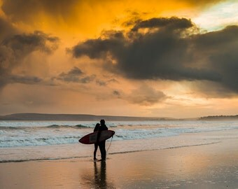 Surfer's in love,surfing pictures,beach,sunset prints,seascape,limited edition print,Dorset prints