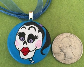 Hand painted wood pendant, day of the dead inspired