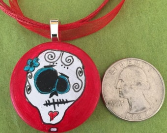 Day of dead skull necklace