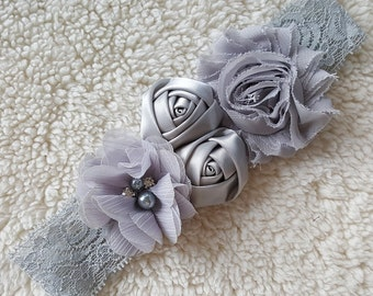 Silver / Gray Flowergirl Pearl & Flower Headband | Gray Lace Head Band for Flower Girls