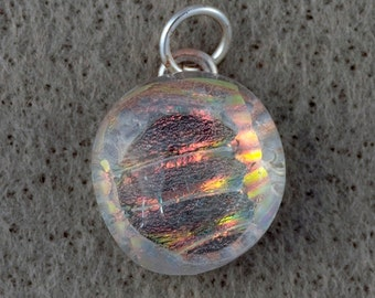 Round Clear Fused Glass Pendant Necklace  Gift for Her Pendant #17
