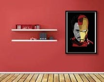 Iron man art print, Iron man poster, Robert Downey Junior art, Iron man art, Movie wall art