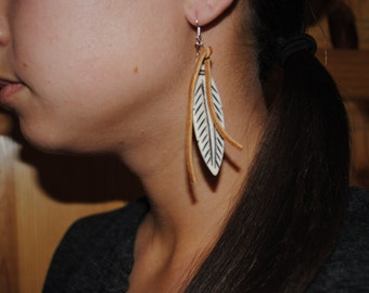 Buffalo Bone Feather & Leather Earrings