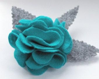 Beautiful Handmade Blue and Grey Flower Felt Brooch