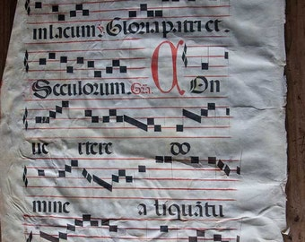 Old antique vellum paper partition antiphonal music partition neuma 17th