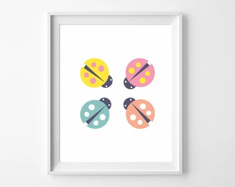 Pink Ladybugs Baby Art Print, Nursery Poster, Poster Print for Girls, Wall Printables, Trending Gifts Instant Download