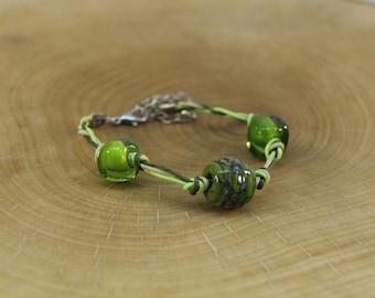 Handmade lampwork green bracelet