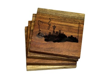 Seattle Skyline in Washington State Outline Coasters - Set of 4 Engraved Coasters