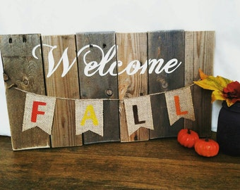 Welcome Fall Rustic Sign, Wooden Fall Decor, Autumn Decor Wooden Sign