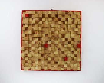 Large Hand Crafted Solid Pine Squares Wall art