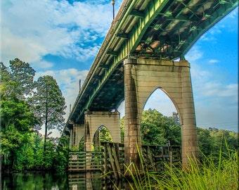 Conway Riverwalk Bridge, Conway, South Carolina, Photography, Blues