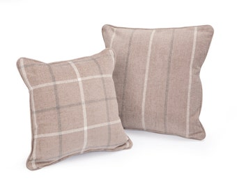 Checked Neutral Scatter Cushion