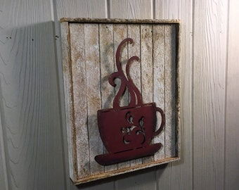 Rustic Coffee Cup, Wall Decor