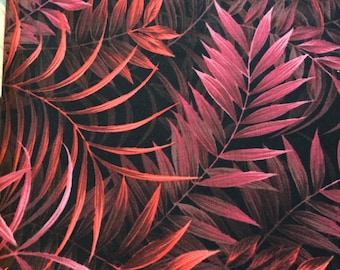 "P & B TEXTILES, ""Wild Things"", 100% Cotton, Batik ferns in Pinks and Oranges, Black Background"