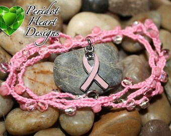 Breast Cancer Crocheted Wrap Bracelet with Charm