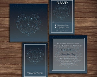 Constellation Love: Wedding Invitation Suite;     Print at Home Wedding Invitations