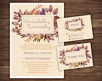Fall Watercolor: Wedding Invitation Suite;     Print at Home Wedding Invitations