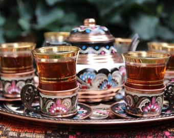 Copper Turkish Tea Set