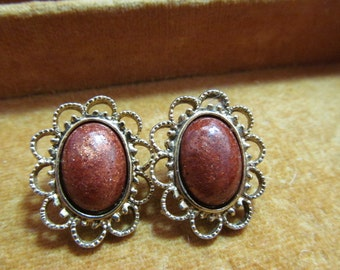 Vintage brown sparkly stone pierced earrings, gold -toned settings