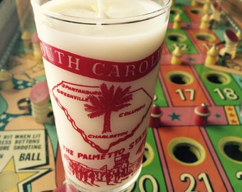 Vintage 'South Carolina' Glass/ Handmade Soy Candle