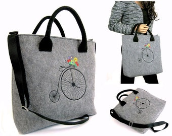 Grey FELT LAPTOP BAG - Women Felt Bag - Old Bike - Felt Tote Bag - Felt Handbag - Felt Shoulder Bag