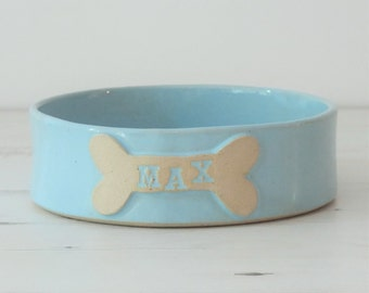 Handmade medium ceramic dog bowl, custom name, pottery dog bowl, ceramic dog dish, housewarming gift, pet present, personalized dog bowl