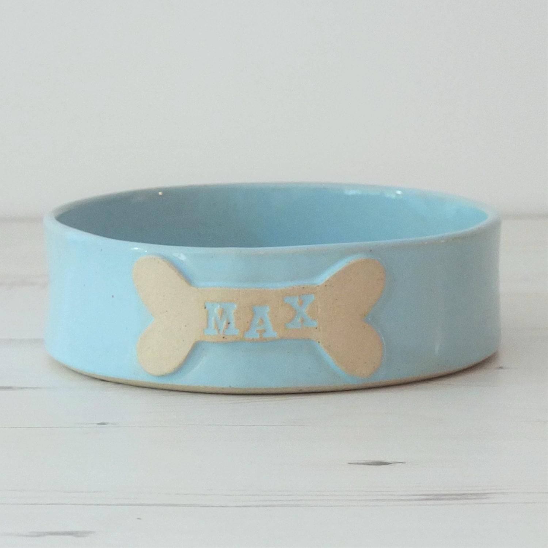 Handmade medium ceramic dog bowl custom name pottery dog - photo#15