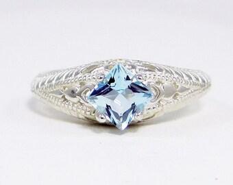 Aquamarine Princess Ring Sterling Silver