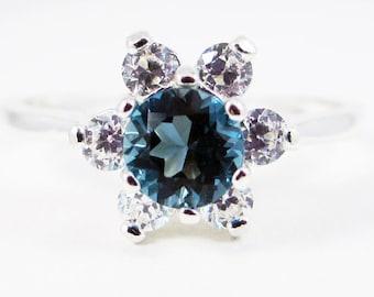 London Blue Topaz Halo Ring Sterling Silver