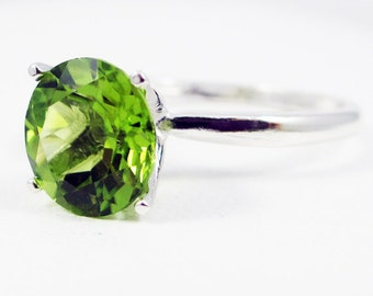 Sterling Silver Peridot Large Solitaire Ring, August Birthstone Ring, Peridot Gemstone Ring, Large Peridot Solitaire Ring, 925 Ring