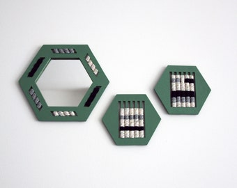 Hexagonal mirror woven hand - almond-Green