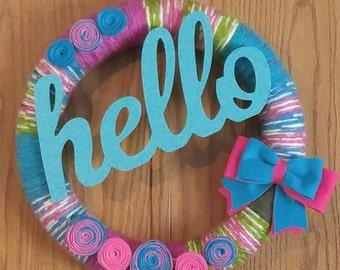 Hello Multi Color Yarn Wreath
