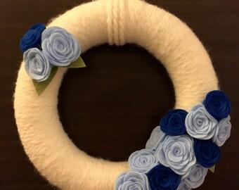 Blue Felt Roses Wreath