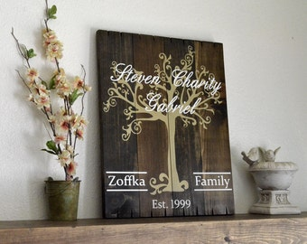 Custom Painted Family Tree Sign on Stained Wood Pallet