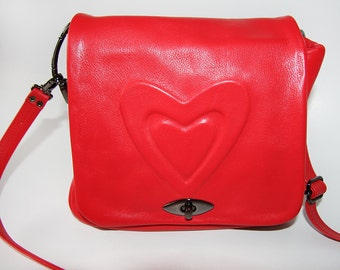 """Shoulder bag """"Heart""""   soft calf leather. Red   Hand made"""