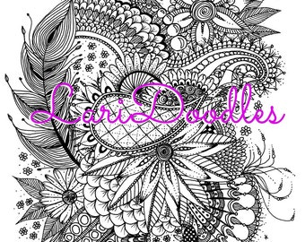 Adult Colouring Page, Instant Download, Downloadable PDF, Feathers, Zentangle, Botanical