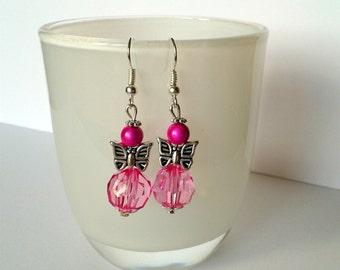 Angel butterfly earrings pink