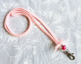 Personalized badge lanyard ID holder/Neck strap/Key chain/Lobster clasp/2colors ribbbon/White/Pink