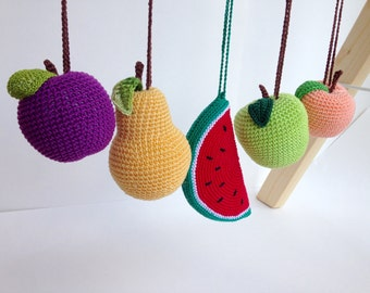 Set of 5 fruits hanging toys, play gym toy, crib toy, crochet rattle,  activity center toy, pretend food, baby gym toy