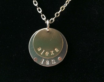 Custom stamped, mixed metal necklace