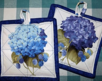 Quilted Potholders - Hydrangea