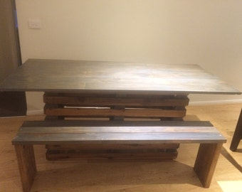 Handmade Rustic, Industrial dining table with 2 matching bench seats
