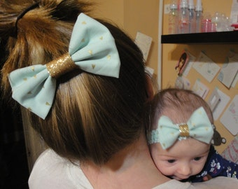 Sea Foam Green with Gold Accent Hair bow and matching Headband Bow