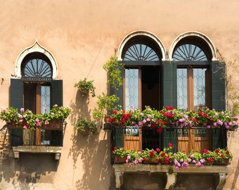 Old Windows, Venice Italy, Three Windows Green Shutters, Flower Boxes, Peach Colored Facade, Wall Decor