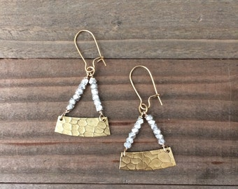 Beautiful textured brass earrings with faceted silver beads